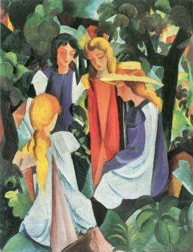 Cztery dziewczyny  - August Macke  - reprodukcja
