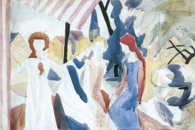 Cztery dziewczyny na Altane  - August Macke  - reprodukcja