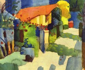 Dom w ogrodzie - August Macke  - reprodukcja