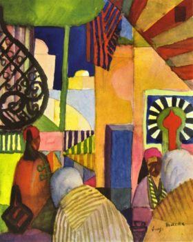 Na bazarze - August Macke  - reprodukcja