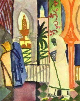 W sali świątynnej [1] - August Macke  - reprodukcja