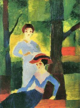 Dwie dziewczyny w lesie - August Macke  - reprodukcja