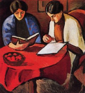 Dwie kobiety przy stoliku - August Macke  - reprodukcja