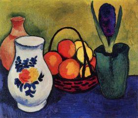 Biały dzbanek z kwiatami i owocami - August Macke  - reprodukcja