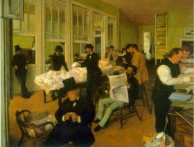Wymiana bawełny- Edgar Degas - reprodukcja