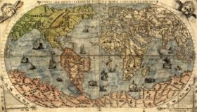 Mapa Świata, F. Berteli, 1565.