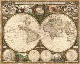 Mapa Świata, Frederick de Wit 1660.