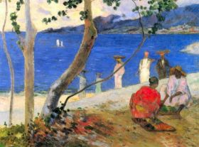Beach Scene by Gauguin