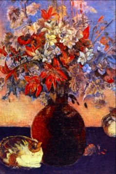 Flowers and Cats by Gauguin