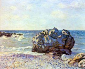 Zatoka ze skałą - Alfred Sisley - reprodukcja