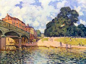 Most na Hampton Court  - Alfred Sisley - reprodukcja