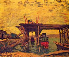 Most w budowie -  Alfred Sisley - reprodukcja