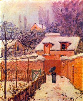 Ogród w Louveciennes w śniegu - Alfred Sisley - reprodukcja