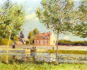 Domy nad brzegiem Loing - Alfred Sisley - reprodukcja