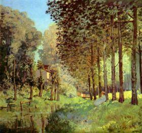 Odpoczynek na brzegu rzeki - Alfred Sisley - reprodukcja
