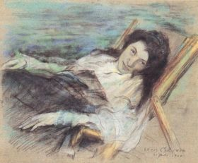 Charlotte Berend on a stool by Lovis Corinth